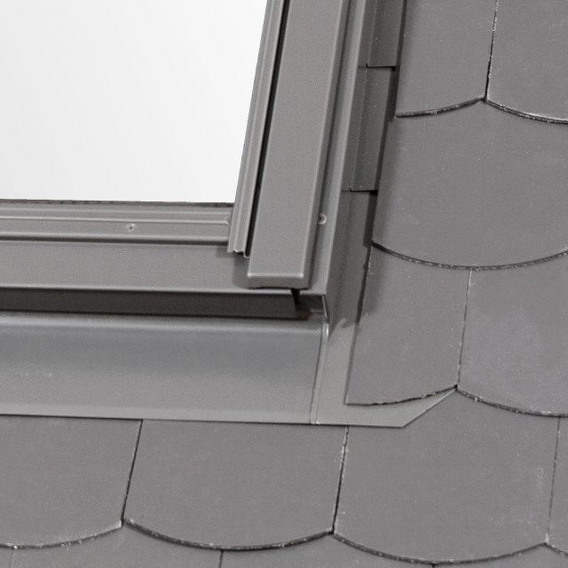Slate flashing on corner of window